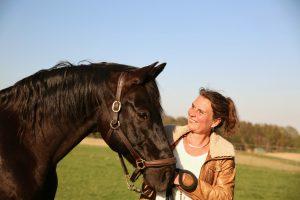 schwarzes Pferd und Trainerin, Persönlichkeitsentwicklung, Klarheit, Präsenz, Team